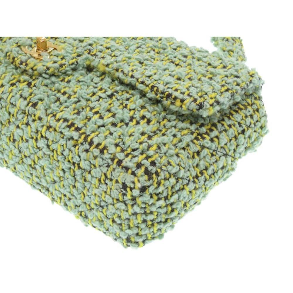 0b5b2de228f4 Chanel Tweed Handbag Parent / Child Bag Matrasse Green 0076 ...