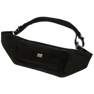 Gucci Satin Black Waist Bag 0238 Women's