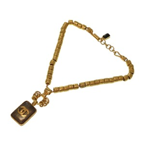Chanel Gold Vintage Stone Coco Mark Necklace 0246
