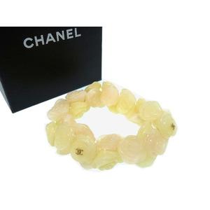 Chanel Camellia Plastic Beige Bracelet Accessory 0065 Women's
