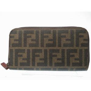 Fendi Zucca Pattern Round Zipper Long Purse Brown Accessory Men's 0003