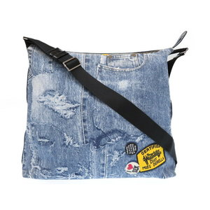 Christian Dior Denim Jeans Pattern Canvas Blue Shoulder Bag 0001