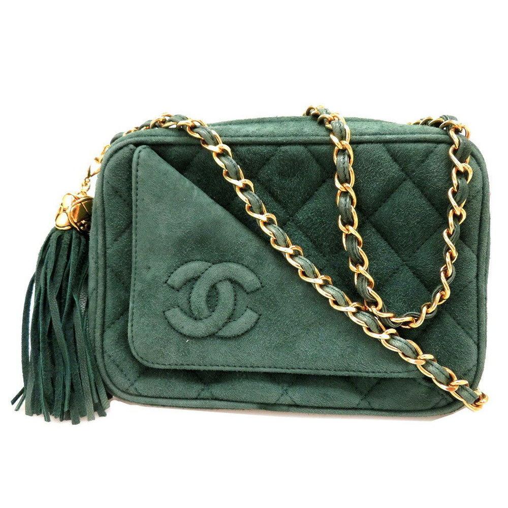 5ad911ee0ba1 Chanel Fringe Chain Shoulder Bag Green Matrasse Vintage 0002 Cahnel