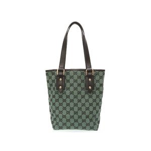 Gucci Gg Canvas Leather Green Black 257250 Handbag Bag 0165 Women's