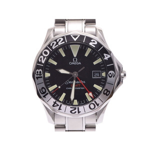 中古 オメガ シーマスターGMT 2234.50 SS 黒文字盤 箱 ギャラ 自動巻 腕時計 メンズ OMEGA◇