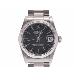 中古 ロレックス デイトジャスト 78240 A番 SS 黒文字盤 自動巻 国際サービス保証書 レディース 腕時計 ROLEX◇