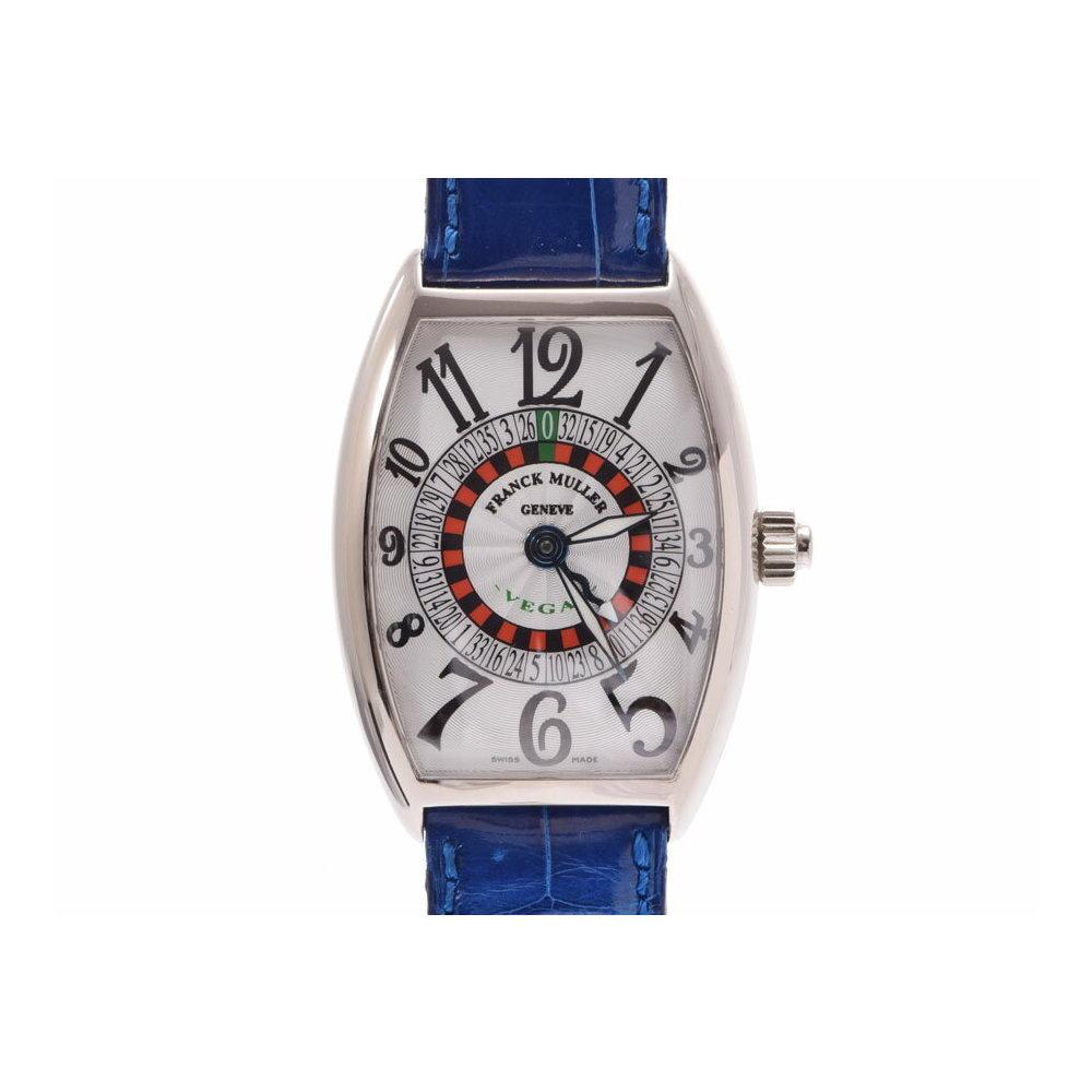 中古 フランクミュラー ヴェガス 5850VEGAS WG/革 正規ギャラ 自動巻 メンズ 腕時計 FRANCK MULLER◇