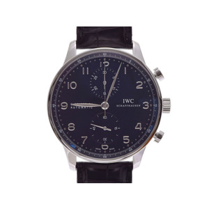 Used Iwc Portuguese Chrono Iw 371447 Ss / Leather Black Lettering Board Inner Gala Self-winding Men's Wristwatch ◇