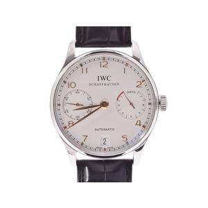 中古 IWC ポルトギーゼ 7デイズ IW500114 SS/革 シルバー系文字盤 裏スケ 自動巻 ギャラ メンズ 腕時計◇