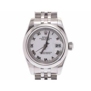 中古 ロレックス デイトジャスト 179160 M番 SS 白文字盤 ギャラ 自動巻 腕時計 レディース ROLEX◇