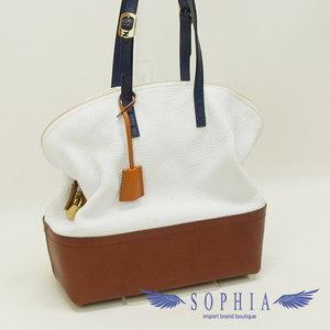 Fendi Celia Leather Tote Bag White X Brown 20180724
