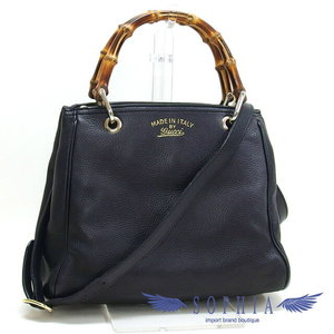 Gucci Bamboo 2 Way Leather Bag Black 20180724