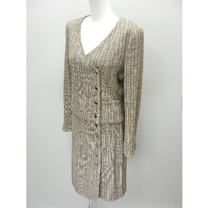 Chanel Tweed Suit Beige / Brown Gray Series Jacket X Winding Skirt Size 38 03p