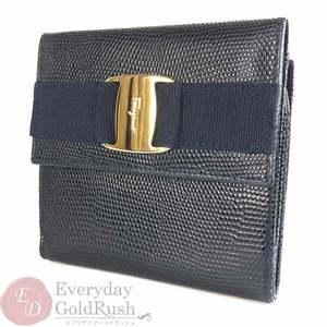 Salvatore Ferragamo Ferragamo Salvatore Double-sided Wallet Navy Gold Leather Women's Brief