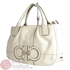 Salvatore Ferragamo Ferragamo Gancini 2 Way Handbag Leather White Ab-21d685