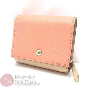 Unused Fendi 8m0339 Bicolor Compact Wallet Pink Beige