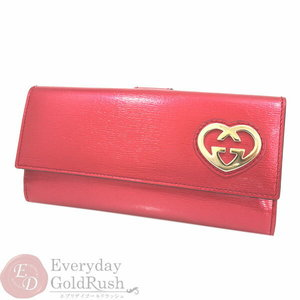 1b86404dc44e Gucci Lovely Shiny Leather Red W Hook Double Sided Purse 245723 Heart Box  With Bags Dramatic
