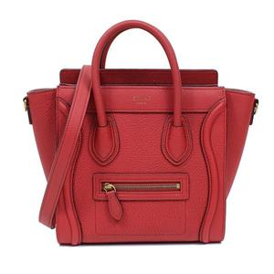 Celine Luggage Nano Shopper 168243 Red Gold Hardware 2 Way Handbag Women's