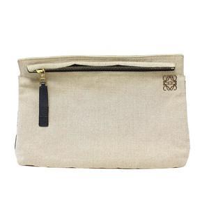 Loewe Clutch Bag Linen Beige Gold Hardware Women's