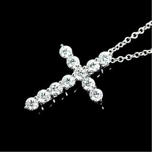 b69ef9a5c Tiffany & Co Cross Pendant Platinum Diamond Ladies Necklace Jewelry Finished