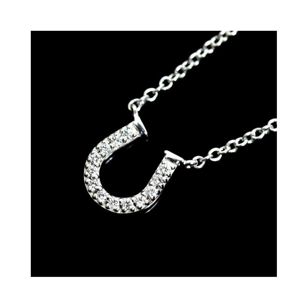 8877dac28 Tiffany Co Metro Horseshoe Pendant K18wg Diamond Ladies Necklace