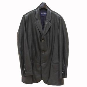 Giorgio Armani Classico Leather Tailored Jacket Black 52 Men's