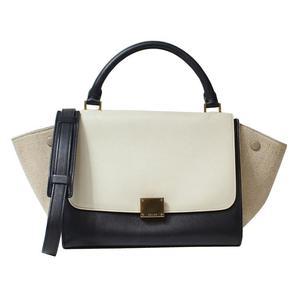 Celine Trapes 169543 Black × Beige White 2 Way Handbag Women's