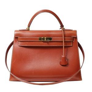 Hermes Kelly 32 Box Calf Brick Gold Hardware □ B Period Handbag Women's