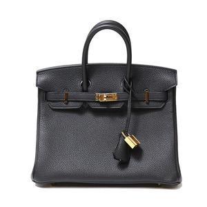 Hermes Birkin 25 Togo Black Gold Hardware C Instruction Handbag Women's