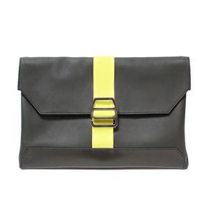 Hermes City Slide Pochette Bash Hunter Toriyon Cristobal Khaki × Lime A Waist Pouch Clutch Bag Women's