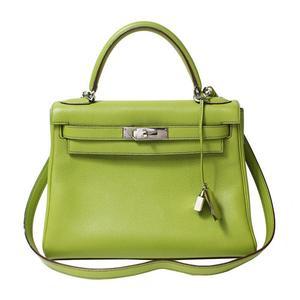 Hermes Kelly 28 Togo Anise Green Silver Hardware □ K Period Handbag Women's