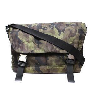 Prada Nylon Shoulder Bag Va 0887 Khaki Multicolor Camouflage Pattern