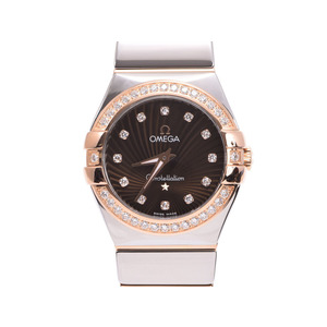 Used Omega Constellation 123.25.27.60.63.002 Pg / Ss Bezel Diamond 12p Black Letterboard Quartz Wristwatch Ladies ◇