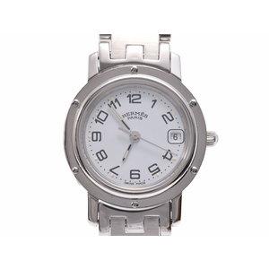 中古 エルメス クリッパーCL4.210 SS 白文字盤 クオーツ 腕時計 レディース HERMES◇