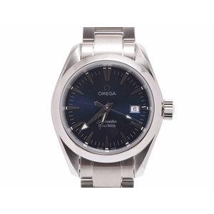 中古 オメガ シーマスター アクアテラ 2577.80 SS ネイビー文字盤 クオーツ 腕時計 レディース OMEGA◇