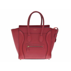 Second-hand Celine Luggage Micro Shopper Calf Red Handbag ◇