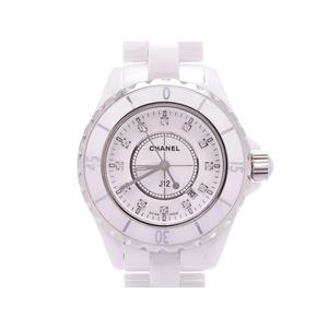 中古 シャネル J12 38mm 白セラミック 12Pダイヤ H1629 クオーツ 腕時計 メンズ CHANEL◇