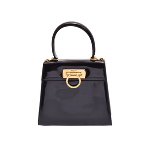 Salvatore Ferragamo Used Ferragamo Gantini 2 Way Handbag Enamel Black G Metal Strap ◇
