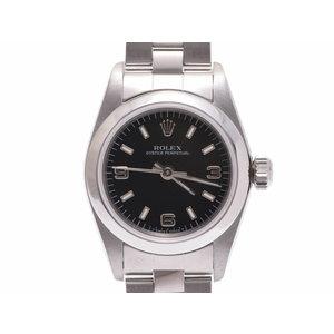 中古 ロレックス パーペチュアル67180 U番 SS 黒文字盤 ギャラ 自動巻 腕時計 レディース ROLEX◇