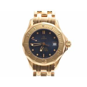 Second Hand Omega Seamaster 300 Yg Navy Dial Watch Quartz Women's ◇