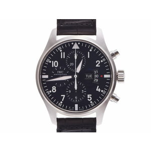 Used Iwc Pilot Watch Chrono Iw 3777701 Ss / Leather Black Letter Board Gala Automatic Wristwatch ◇