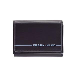 プラダ(Prada) 新品 プラダ 三ツ折コンパクト財布 レザー 黒 2MH021 箱 ギャラ PRADA◇