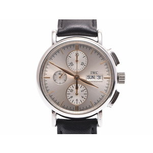 Used Iwc Port Finino Chrono Iw 378302 Ss / Mens ◇ Automatic Dial Wristwatch With Leather Silver
