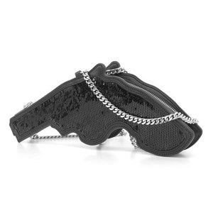 Saint Laurent Sequin Handgun Type Chain Shoulder Bag Revolver Pistol Black