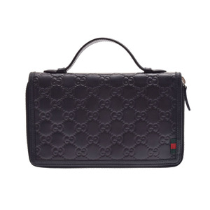 Used Gucci Shima Travel Case Leather Black ◇