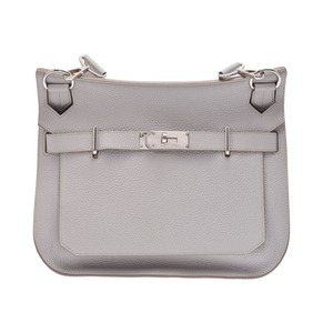 Used Hermes Gipsiere 31 Triyon Clemence Pearl Gray □ Q Engraved Shoulder Bag ◇