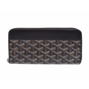 Used Goyard Round Zipper Long Wallet Black ◇