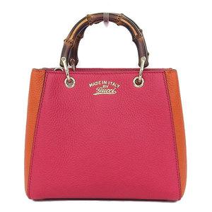 Gucci Gucci Bamboo Shopper Leather 2 Way Bag Bicolor Pink Orange 368823