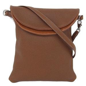 Hermes Hermes Pillow Shoulder Bag Brown Tea Silver Bracket □ E Stamped
