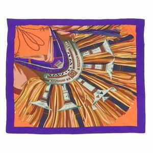 Hermes Hermes Cashmere Silk Shawl Cuirs Du Desert Leather Ornament Purple Orange